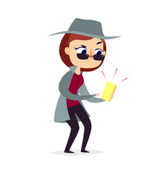 mystery shopper woman in spy coat checks the goods vector image vector image