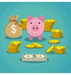 piggy bank with golden coins and bag of money vector image