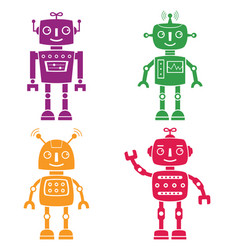 robots silhouettes set vector image