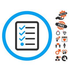 Checklist icon with love bonus vector