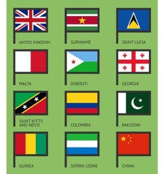 Flags flat set-07 vector image