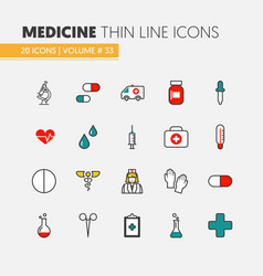 health care and medicine thin line icons set vector image vector image