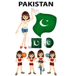 Pakistan flag and many sports vector image vector image
