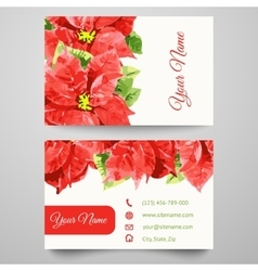 Set of business card templates with beauty flowers vector image vector image