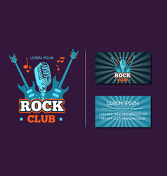 vintage rock music club logo emblem badge vector image vector image