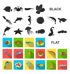 A variety of marine animals flat icons in set vector