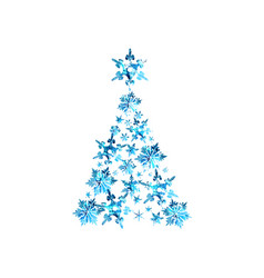 Abstract blue watercolor christmas tree vector
