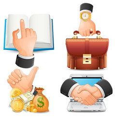 Achieve goal in business handshake icons vect vector