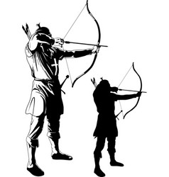 Archer pulls string vector