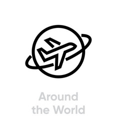 around world airplane icon editable line vector image