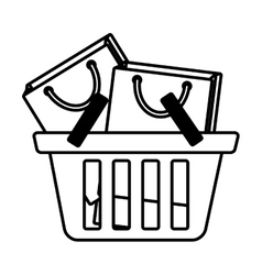 basket shopping many bag gift outline vector image