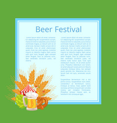 beer festival poster with tasty food and beverage vector image
