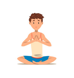 Boy sitting in lotus yoga pose exercise for back vector