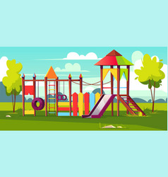 Bright playground for children at park vector