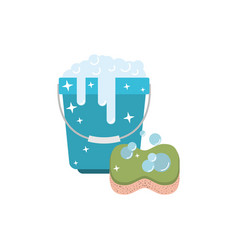 bucket with foam detergent and sponge in colorful vector image