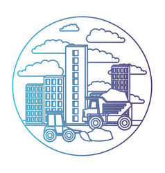 building set city with contruction vehicles in vector image
