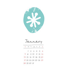 Calendar 2018 months january week starts sunday vector