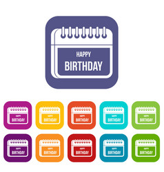 Calendar happy birthday icons set vector