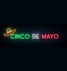 cinco de mayo neon banner mexican fiesta light vector image