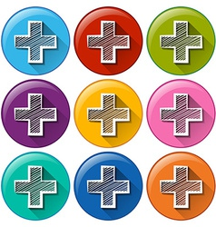 Circle buttons with the addition operation vector image