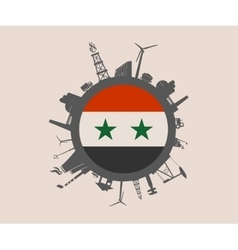 Circle with industrial silhouettes Syria flag vector