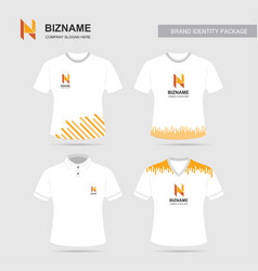 Company logo shirts design with n logo vector