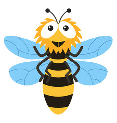 cute bee flying on white background vector image