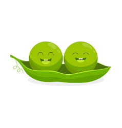 Cute cartoon peas isolated on white background vector