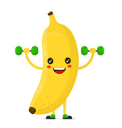 Cute happy smiling banana doing exercises vector