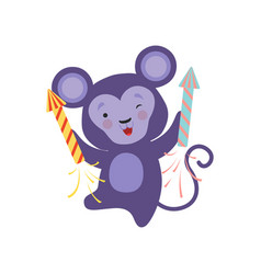 cute monkey with a party popper lovely cartoon vector image