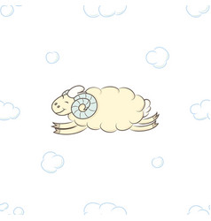 cute sheep flying in the clouds vector image