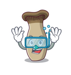 Diving king trumpet mushroom character cartoon vector