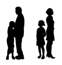 divorcing parents with two sad unhappy children vector image