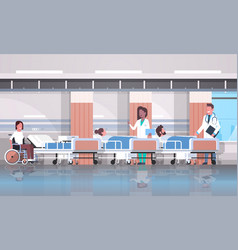 Doctors team visiting disabled mix race patients vector