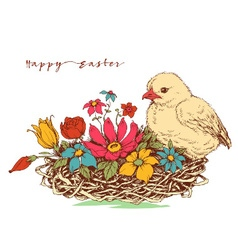 Easter card chicken and a basket of flowers vector image