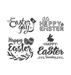 easter hand drawn lettering logo vector image