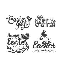 easter hand drawn lettering logo vector image