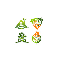 eco home template set vector image
