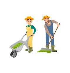 farming man and woman compost vector image