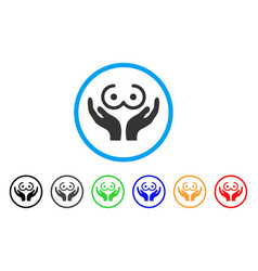 Female tits care hands rounded icon vector