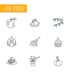 Festival icons line style set with pumpkin apple vector