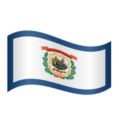 Flag of west virginia waving on white background vector