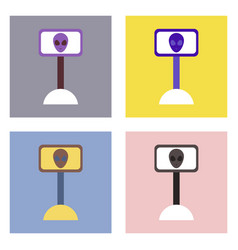 Flat icon design collection alien on the monitor vector