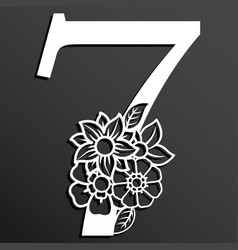 Floral number 7 vector