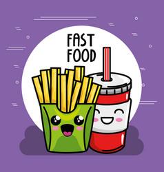 french fries with soda kawaii character vector image