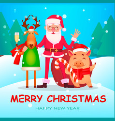 Funny santa claus cute deer and pig vector