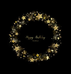 gold round wreath of sparkles holiday decoration vector image