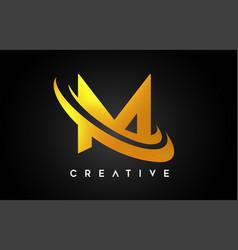 golden letter m logo m letter design with golden vector image