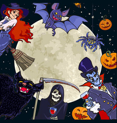 halloween characters on full moon background vector image
