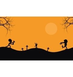 Halloween scary zombie silhouette vector